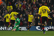 Picture by David Horn/Focus Images Ltd +44 7545 970036.09/03/2013.Cristian Battocchio of Watford (2nd right) celebrates scoring his side's first goal during the npower Championship match at Vicarage Road, Watford.