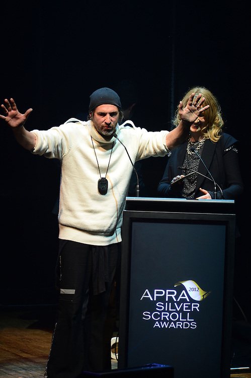 Andrew Fagan and Karyn Hay on stage at the APRA Silver Scroll Awards 2012. Auckland Town Hall. 13 September 2012.