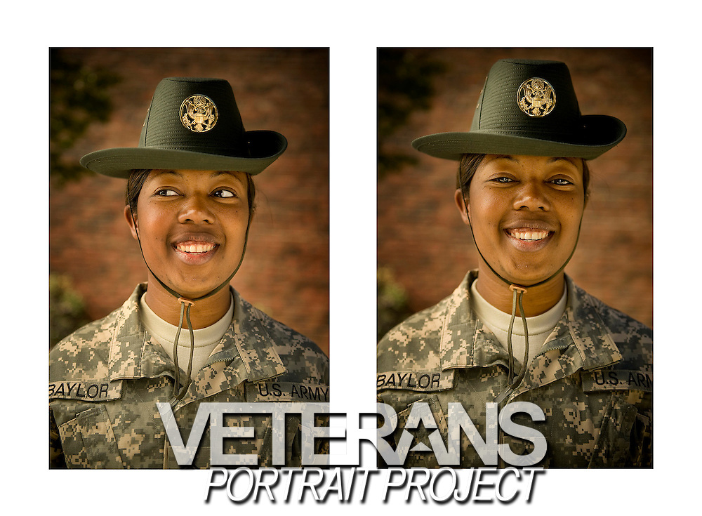 US Army drill instructor poses for a portrait at Fort Jackson, SC. Photo by Stacy Pearsall