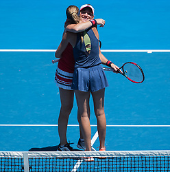 MELBOURNE, Jan. 24, 2018  Timea Babos (Back) of Hungary and Kristina Mladenovic of France celebrate after the women's doubles semifinal against Peng Shuai of China and Hsieh Su-Wei of Chinese Taipei at Australian Open 2018 in Melbourne, Australia, Jan. 24, 2018. Timea Babos and Kristina Mladenovic won 2-0 to enter the final. (Credit Image: © Zhu Hongye/Xinhua via ZUMA Wire)