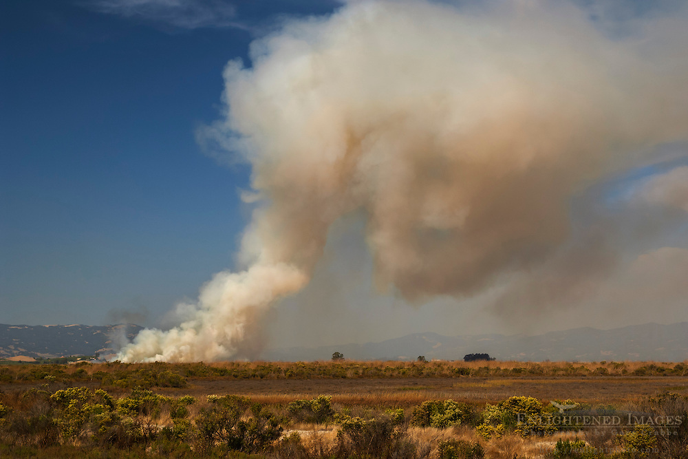 Smoke plume from fire over wetlands in the San Pablo Bay National Wildlife Refuge; Sonoma County; California