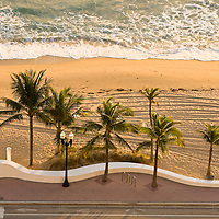 Early morning on Fort Lauderdale Beach, Florida from the air