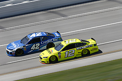 April 29, 2018 - Talladega, Alabama, United States of America - Kyle Larson (42)  battles side by side down the front stretch for position during the GEICO 500 at Talladega Superspeedway in Talladega, Alabama. (Credit Image: © Justin R. Noe Asp Inc/ASP via ZUMA Wire)