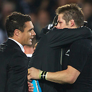 Dan Carter, (left) and Richie McCaw, New Zealand, celebrate after victory during the New Zealand V France Final at the IRB Rugby World Cup tournament, Eden Park, Auckland, New Zealand. 23rd October 2011. Photo Tim Clayton...