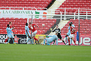 Swindon's James Collins (9) scores his sides 2nd goal to make it 2-2.  NPower league one, Swindon Town v Coventry city at the County Ground in Swindon on Saturday 13th October 2012.  pic by  Andrew Orchard, Andrew Orchard sports photography,
