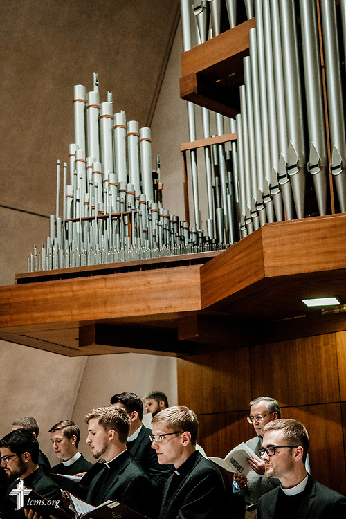 Kantorei members sing during The Order of Vespers with Distribution of Calls into the Holy Ministry on Wednesday, April 25, 2018, in Kramer Chapel at Concordia Theological Seminary, Fort Wayne, Ind. LCMS Communications/Erik M. Lunsford
