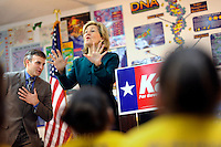 SAN ANTONIO, TX - FEBRUARY 08:  The Senator speaks to a class of middle schoolers at a campaign stop at KIPP Aspire Academy... Senior Senator and candidate for Texas governor, Kay Bailey Hutchison,  campaigns through Texas in a close race against Governor Rick Perry for the republican nomination, February 08, 2010 in San Antonio, Texas. (Photo by Melina Mara/The Washington Post)..