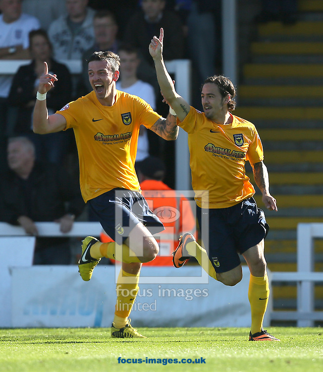 Picture by Paul Gaythorpe/Focus Images Ltd +447771 871632<br /> 28/09/2013<br /> Ryan Williams (R) of Oxford United celebrates scoring the first goal against Hartlepool United during the Sky Bet League 2 match at Victoria Park, Hartlepool.