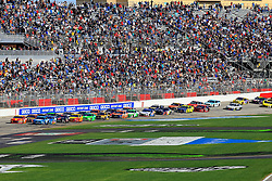 February 24, 2019 - Hampton, GA, U.S. - HAMPTON, GA - FEBRUARY 24: Kyle Larson (42) leads a mid-race restart during the 60th annual running of the Folds of Honor Quik Trip 500 Monster Energy NASCAR Cup Series race on February 24, 2019 at the Atlanta Motor Speedway in Hampton, GA.  (Photo by David J. Griffin/Icon Sportswire) (Credit Image: © David J. Griffin/Icon SMI via ZUMA Press)