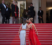 Alessandra Ambrosio and Rosie Huntington-Whiteley at the gala screening for the film The Unknown Girl (La Fille Inconnue) at the 69th Cannes Film Festival, Wednesday 18th May 2016, Cannes, France. Photography: Doreen Kennedy