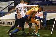 AFC Wimbledon defender Jon Meades (3) protects the ball from Bury FC midfielder Tom Soares (19) and Bury FC defender Niall Maher (22) during the EFL Sky Bet League 1 match between Bury and AFC Wimbledon at the Gigg Lane, Bury, England on 18 October 2016. Photo by Stuart Butcher.