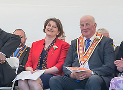 Democratic Unionist Party (DUP) leader Arlene Foster attended a huge Orange walk through Cowdenbeath, Scotland. The controversial march, one of the biggest in the country, saw a heavy police presence, with over 100 officers deployed.<br /> <br /> © Dave Johnston / EEm
