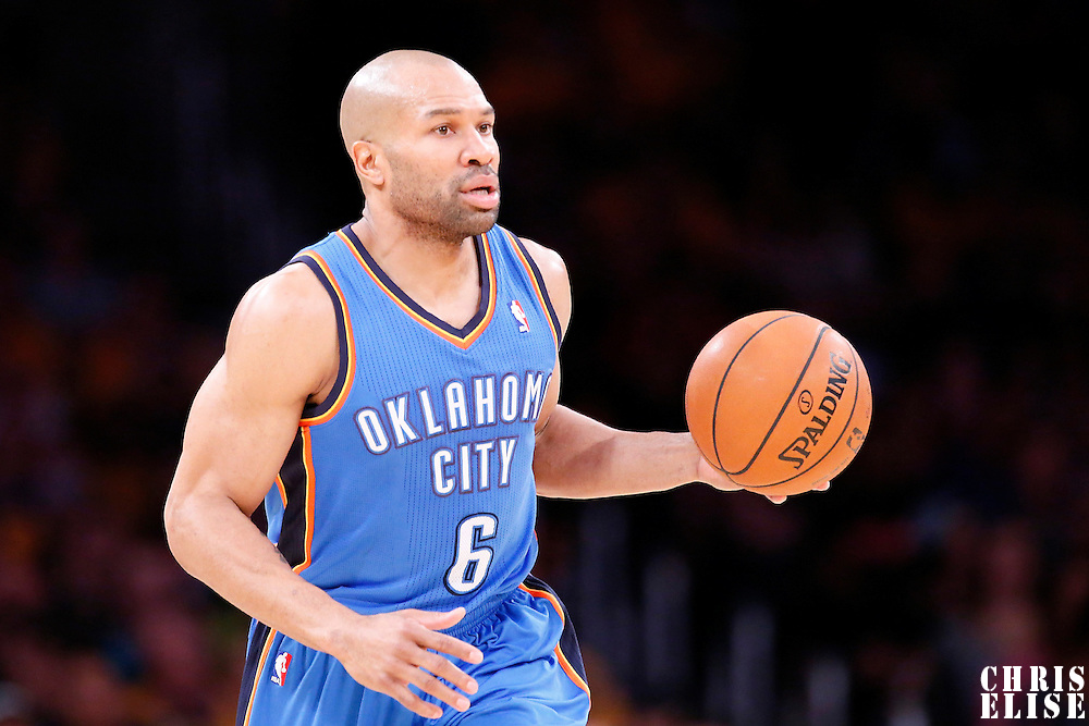 09 March 2014: Oklahoma City Thunder point guard Derek Fisher (6) brings the ball up court during the Los Angeles Lakers 114-110 victory over the Oklahoma City Thunder at the Staples Center, Los Angeles, California, USA.