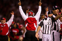 20 September 2010: Head coach Mike Singletary of the San Francisco 49ers puts his hands up after the officials call a 49ers two point conversion good against the New Orleans Saints during the second half of the Saints 25-22 victory over the 49ers at Candlestick Park in San Francisco, CA.