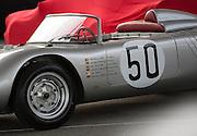 Image of a silver 1960 Porsche RS60 Four-Cam Racing Spyder, Rennsport Reunion V, Laguna Seca Raceway, Monterey, California, America west coast