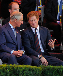 His Royal Highness, Prince Charles and his Royal Highness, Prince Harry - Photo mandatory by-line: Joe Meredith/JMP - Mobile: 07966 386802 - 10/09/14 - The Invictus Opening Ceremony - London - Queen Elizabeth Olympic Park