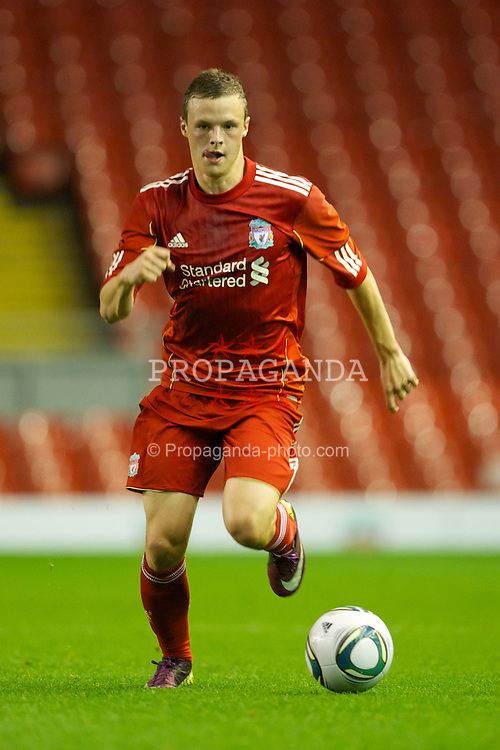 LIVERPOOL, ENGLAND - Thursday, September 29, 2011: Liverpool's Brad Smith in action against Molde FK during the NextGen Series Group 2 match at Anfield. (Pic by David Rawcliffe/Propaganda)