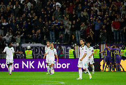 Dissappointed players of Panathinaikos while players of Maribor celebrate after third  during football match between NK Maribor and Panathinaikos Athens F.C. (GRE) in 1st Round of Group Stage of UEFA Europa league 2013, on September 20, 2012 in Stadium Ljudski vrt, Maribor, Slovenia. Maribor defeated Panathinaikos 3-0. (Photo By Vid Ponikvar / Sportida)