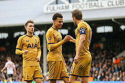 Goal, Harry Kane of Tottenham Hotspur scores his hattrick, celebrates with Dele Alli of Tottenham Hotspur Fulham 0-3 Tottenham Hotspur - Mandatory by-line: Jason Brown/JMP - 19/02/2017 - FOOTBALL - Craven Cottage - Fulham, England - Fulham v Tottenham Hotspur - Emirates FA Cup fifth round