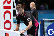 Stan Wawrinka after winning against Andy Murray during the ATP World Tour Finals at the O2 Arena, London, United Kingdom on 20 November 2015. Photo by Phil Duncan.