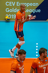 12-06-2019 NED: Golden League Netherlands - Estonia, Hoogeveen<br /> Fifth match poule B - The Netherlands win 3-0 from Estonia in the series of the group stage in the Golden European League / Nimir Abdelaziz #14 of Netherlands