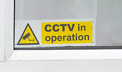 ©Licensed to London News Pictures 27/09/2019.<br /> New Ash Green ,UK. CCTV sticker in a front window. Sarah Wellgreen's house at Bazes Shaw, New Ash Green in Kent has the curtains drawn in the middle of the day and a new front door after the police forced entry last year. The mother of five has never been found, she disappeared in October 2018. Former partner Ben Lacomba (38) is due to stand trial for her murder next week. Photo credit: Grant Falvey/LNP