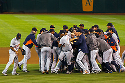 September 16, 2011; Oakland, CA, USA;  The Detroit Tigers celebrate after the game against the Oakland Athletics at O.co Coliseum.  Detroit defeated Oakland 3-1. Detroit clinched the American League Central Division with the win.