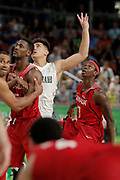 14th April 2018, Gold Coast Convention and Exhibition Centre, Gold Coast, Australia; Commonwealth Games day 10, Basketball, Mens semi final, New Zealand versus Canada;  Mamadou Gueye of Canada watches his shot on the buzzer with Canada trailing by a point
