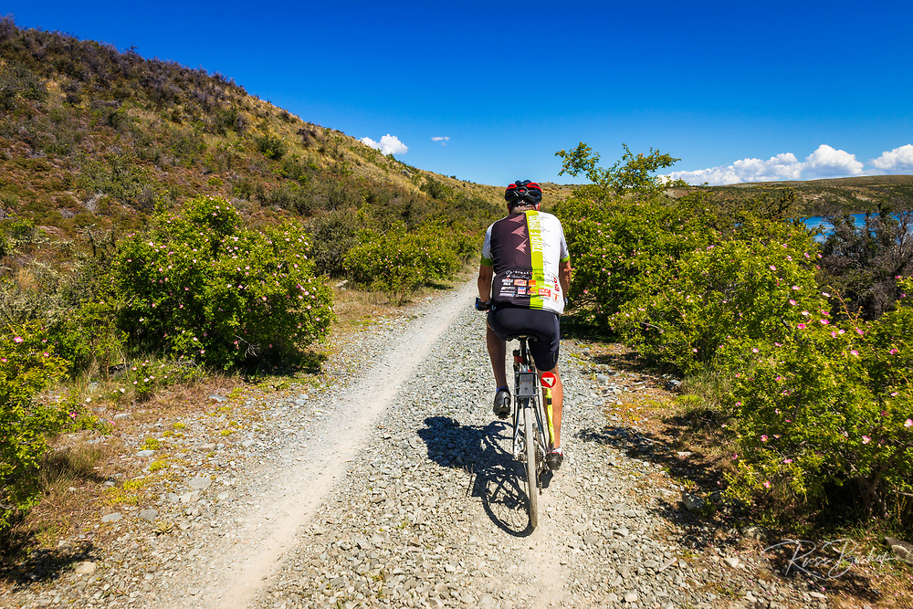Cyclist on the Alps to Ocean Cycle Trail in the Southern Alps, Canterbury, South Island, New Zealand