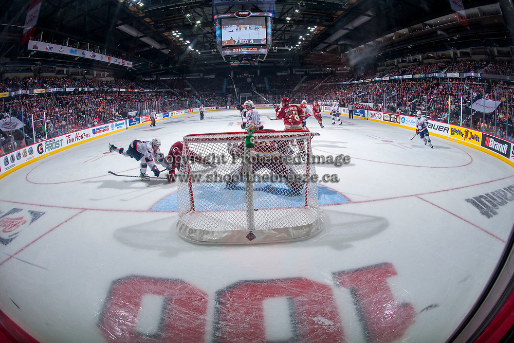REGINA, SK - MAY 20: Evan Fitzpatrick #31 of Acadie-Bathurst Titan misses a shot from Matt Bradley #77 of Regina Pats during the third period at the Brandt Centre on May 20, 2018 in Regina, Canada. (Photo by Marissa Baecker/CHL Images)