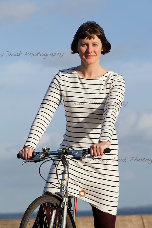 Jo Holton, inventor of 'Penny In Yo' Pants' - a gadget to make cycling in skirts more practical.<br /> <br /> Edinburgh, 22nd Jan 2016<br /> Picture by Gary Doak