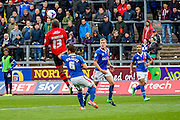Carlisle United Goalkeeper Dan Hanford attacks the cross during the Sky Bet League 2 match between Carlisle United and Exeter City at Brunton Park, Carlisle, England on 17 October 2015. Photo by Craig McAllister.