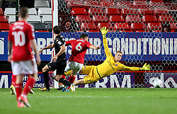 Wigan Athletic's Gavin Massey (not in picture) scores his sides first goal