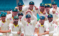 Australia's Steve Smith and team mates celebrate winning the ashes during day five of the Ashes Test match at Sydney Cricket Ground.