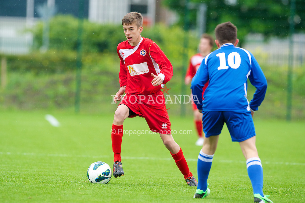 NEWPORT, WALES - Tuesday, May 28, 2013: Central Welsh Premier League Academy Boys' Owen Thomas during the Welsh Football Trust Cymru Cup at Dragon Park. (Pic by David Rawcliffe/Propaganda)