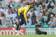 Hampshire T20 all-rounder Darren Sammy bowling during the NatWest T20 Blast South Group match between Surrey County Cricket Club and Hampshire County Cricket Club at the Kia Oval, Kennington, United Kingdom on 9 June 2016. Photo by David Vokes.