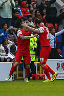 Chris Dagnall of Leyton Orient (right) celebrates scoring his team's second goal to make it 2-0 with Dean Cox of Leyton Orient (left) after the Sky Bet League 1 match at the Matchroom Stadium, London<br /> Picture by David Horn/Focus Images Ltd +44 7545 970036<br /> 22/11/2014