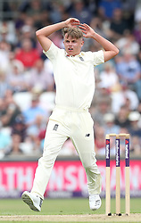 England's Sam Curran bowls to Pakistan's Haris Sohail, during day one of the second Investec Test Match at Headingley Carnegie, Leeds.