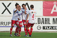 Fotball<br /> 16.08.2017<br /> Obos ligaen<br /> Myrdal gress<br /> Åsane - Kongsvinger<br /> Martin Antonio Nieves (L) , Niklas Fernando Nygaard Castro (3R) , Adem Guven (2R) og Adrian Lillebekk Ovlien (R) , Kongsvinger jubler for scoring<br /> Foto: Astrid M. Nordhaug, Digitalsport