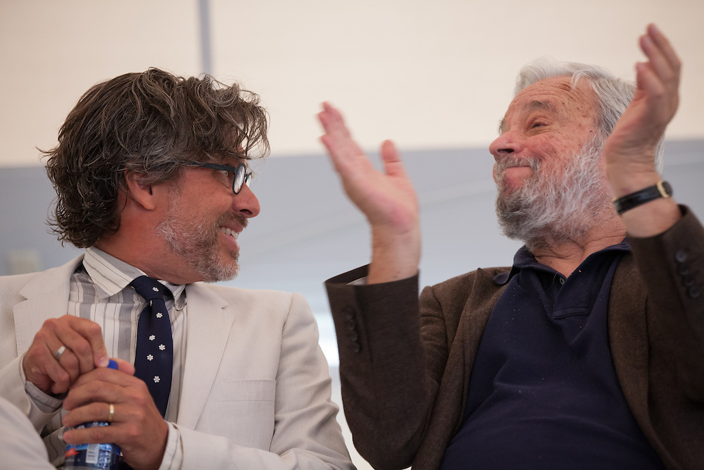 "Broadway composer and lyricist Stephen Sondheim (R)  and MacDowell Colony Chairman Michael Chabon are pictured during a ceremony awarding Sondheim the Edward MacDowell Medal for lifetime achievement, at the MacDowell Colony, in Peterborough, NH on Sunday, August 11, 2013. Sondheim has won more Tony Awards than any other composer. His hit musicals include ""Follies,"" ''A Little Night Music"" and ""Sweeney Todd.""  (Matthew Cavanaugh Photo)"