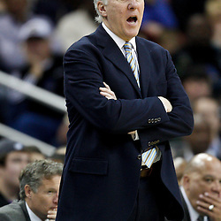 January 22, 2011; New Orleans, LA, USA; San Antonio Spurs head coach Gregg Popovich against the New Orleans Hornets during the fourth quarter at the New Orleans Arena. The Hornets defeated the Spurs 96-72.  Mandatory Credit: Derick E. Hingle