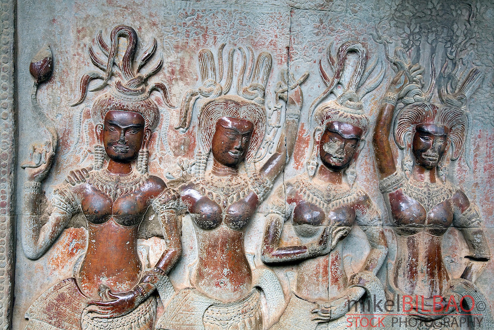 Apsaras sculpted. <br />