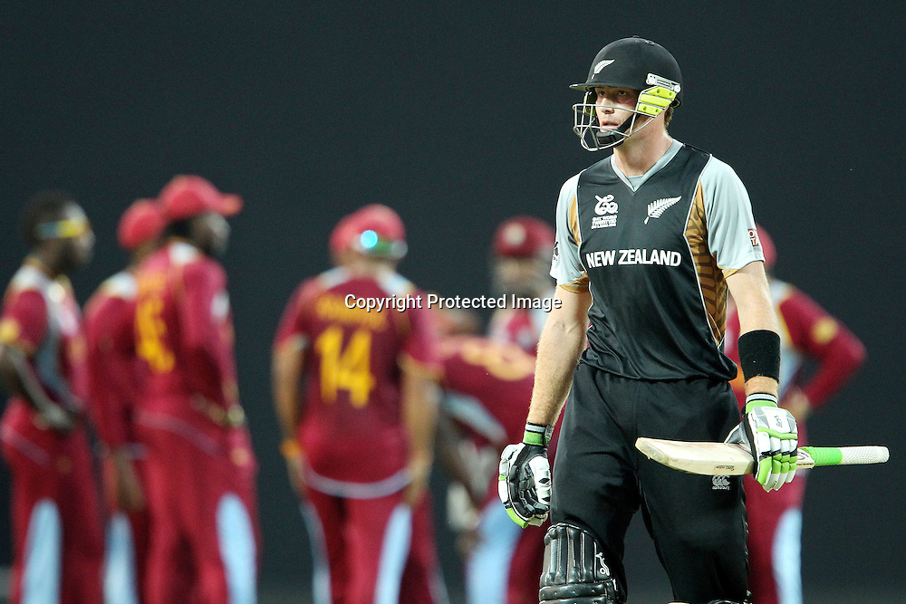 Darren Sammy (Captain) of The West Indies celebrates the wicket of Martin Guptil as he departs during the ICC World Twenty20 Super Eights match between The West Indies and New Zealand held at the  Pallekele Stadium in Kandy, Sri Lanka on the 1st October 2012<br /> <br /> Photo by Ron Gaunt/SPORTZPICS/PHOTOSPORT