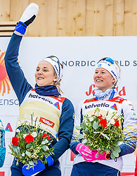 24.02.2019, Langlauf Arena, Seefeld, AUT, FIS Weltmeisterschaften Ski Nordisch, Seefeld 2019, Langlauf, Damen, Teambewerb, Flower Zeremonie, im Bild Weltmeisterin und Goldmedaillengewinnerin Stina Nilsson, Maja Dahlqvist (SWE) // World champion and Gold medalist Stina Nilsson Maja Dahlqvist of Sweden during the flowers ceremony for the ladie's cross country team competition of FIS Nordic Ski World Championships 2019 at the Langlauf Arena in Seefeld, Austria on 2019/02/24. EXPA Pictures © 2019, PhotoCredit: EXPA/ Stefan Adelsberger