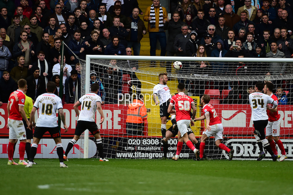 Derby County Midfielder Johnny Russell heads a goal during the Sky Bet Championship match between Charlton Athletic and Derby County at The Valley, London, England on 16 April 2016. Photo by Jon Bromley.
