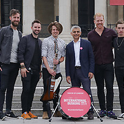 London,England,UK, 22th July 2016 : Keywest join the Mayor of London Sadiq Khan Launch of International Busking Day '#LondonIsOpen' in Trafalgar Square, London, UK. Photo by See Li