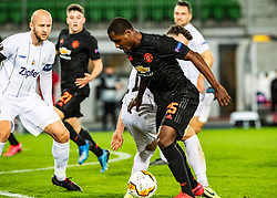 12.03.2020, Stadion der Stadt Linz, Linz, AUT, UEFA EL, LASK vs Manchester United, Achtelfinale, im Bild v.l. Gernot Trauner (LASK Linz), Dominik Reiter (LASK), Odion Ighalo (Manchester United) // during the UEFA Europa League round of last 16 match between LASK and Manchester United at the Stadion der Stadt Linz in Linz, Austria on 2020/03/12. EXPA Pictures © 2020, PhotoCredit: EXPA/ Reinhard Eisenbauer