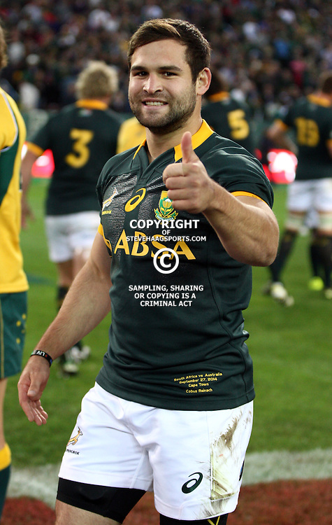 CAPE TOWN, SOUTH AFRICA - SEPTEMBER 27: Cobus Reinach of South Africa during The Castle Rugby Championship match between South Africa and Australia at DHL Newlands on September 27, 2014 in Cape Town, South Africa. (Photo by Steve Haag/Gallo Images)