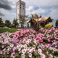Photo of Frankfort Grainery and flowers in Frankfort Illinois. Frankfort is a historic Southwestern suburb of Chicago founded in the early 1800's by German settlers.