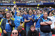 Wimbledon fans during the Sky Bet League 2 play off final match between AFC Wimbledon and Plymouth Argyle at Wembley Stadium, London, England on 30 May 2016.